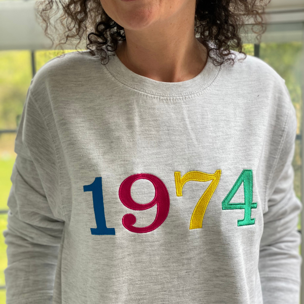 Embroidered Year of Birth Sweatshirt Ash Grey or White