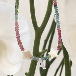 Initial Mother of Pearl and Tourmaline Necklace