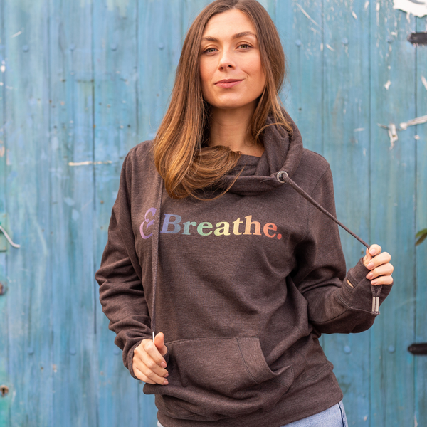Breathe Cross Neck Hoodie in Charcoal Grey