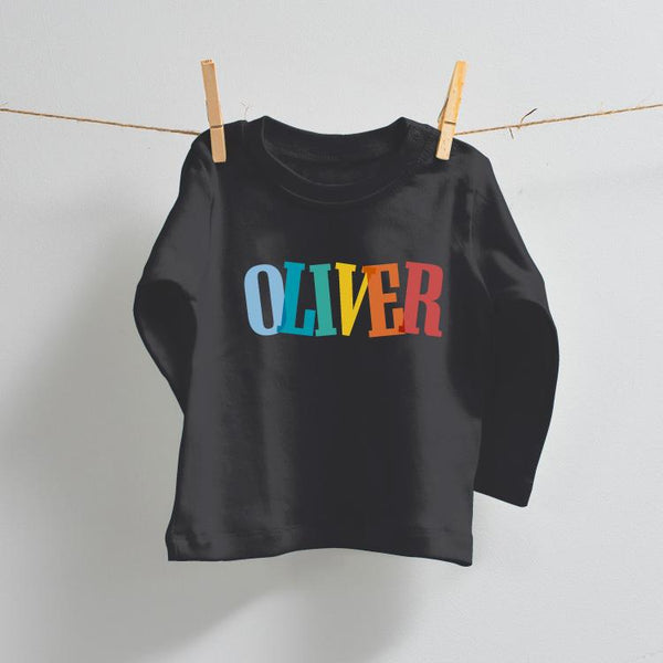 Fun Personalised Long Sleeve T-Shirt in Black