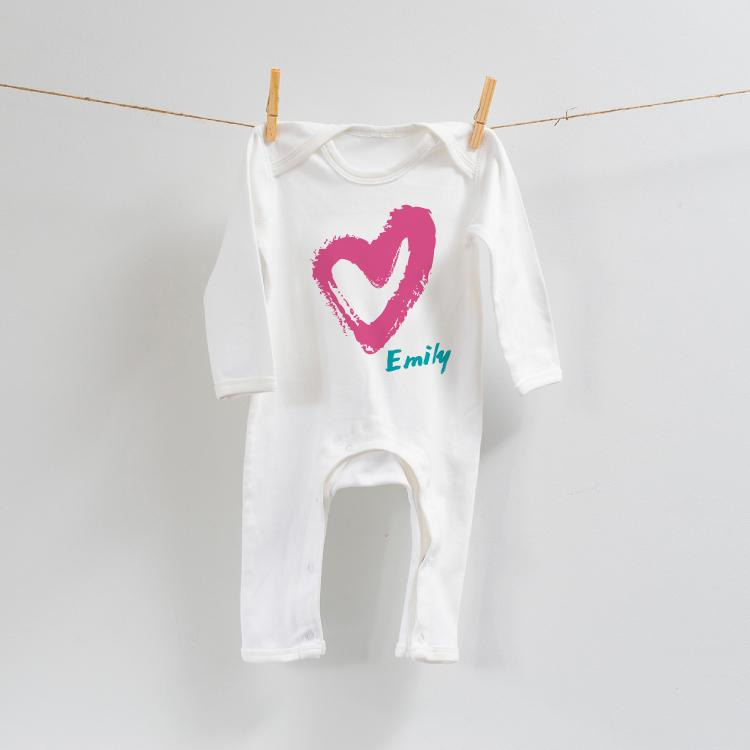Personalised Heart Design on Romper Suit