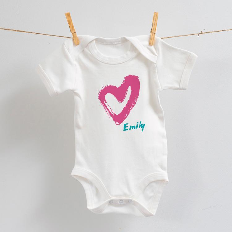 Personalised Heart Design on Bodysuit