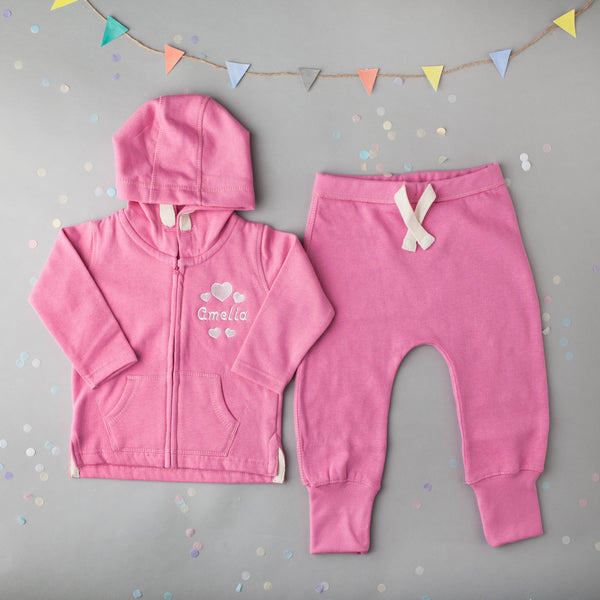 Personalised Pink Baby Tracksuit with Gorgeous Heart Design