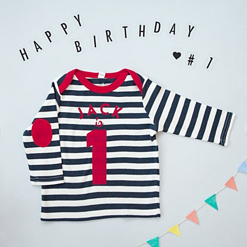 Personalised Striped Long Sleeve Birthday Top in Navy and White!