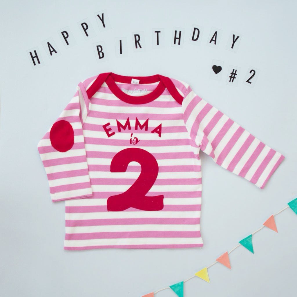 Personalised Striped Long Sleeve Birthday Top in Pink and White!