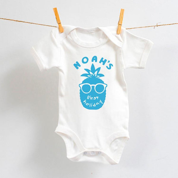 Personalised My First Holiday Bodysuit with Blue Design