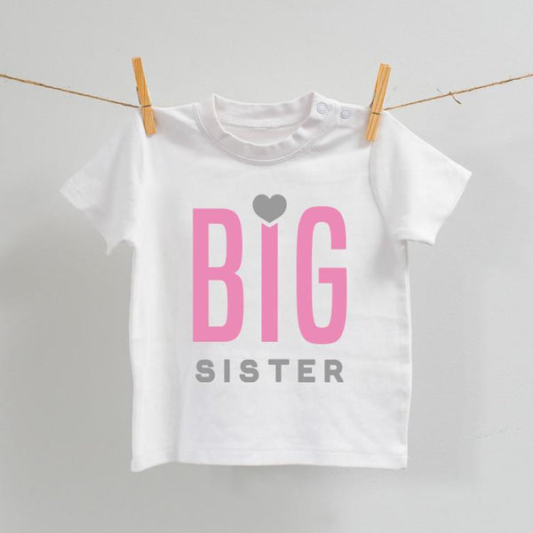 Big Sister Tshirt White and Pink