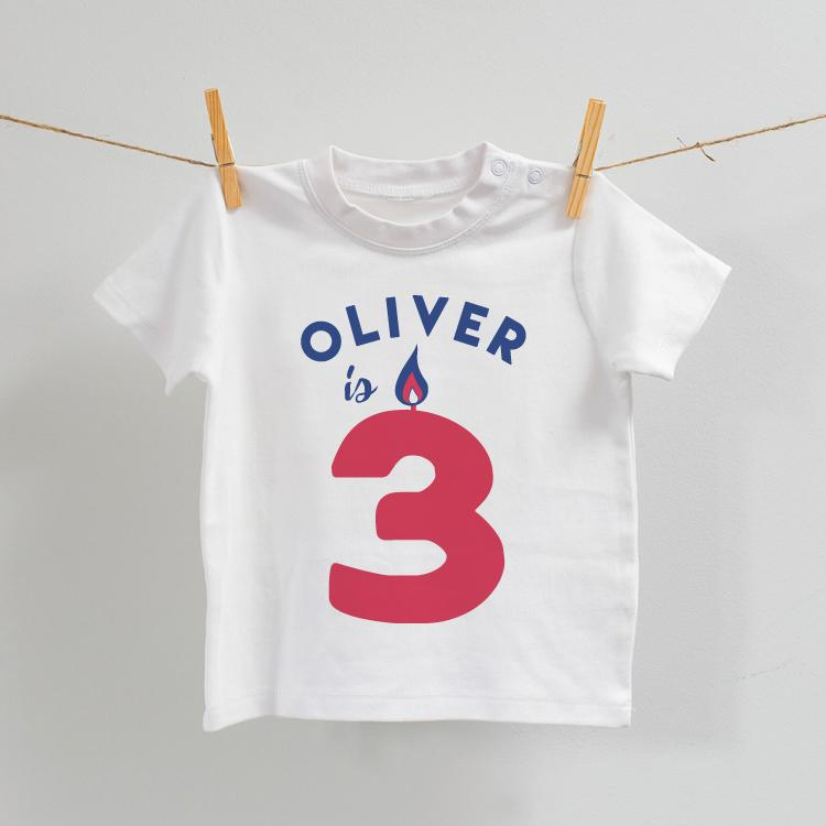 Personalised Birthday T-Shirt in White with Red, Age 2-7