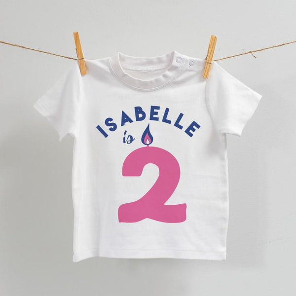 Personalised Birthday T-Shirt in White with Pink, Age 2-7