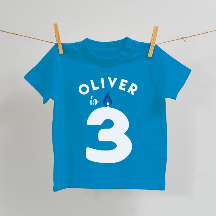 Personalised Birthday T-Shirt in Blue Age 2-7
