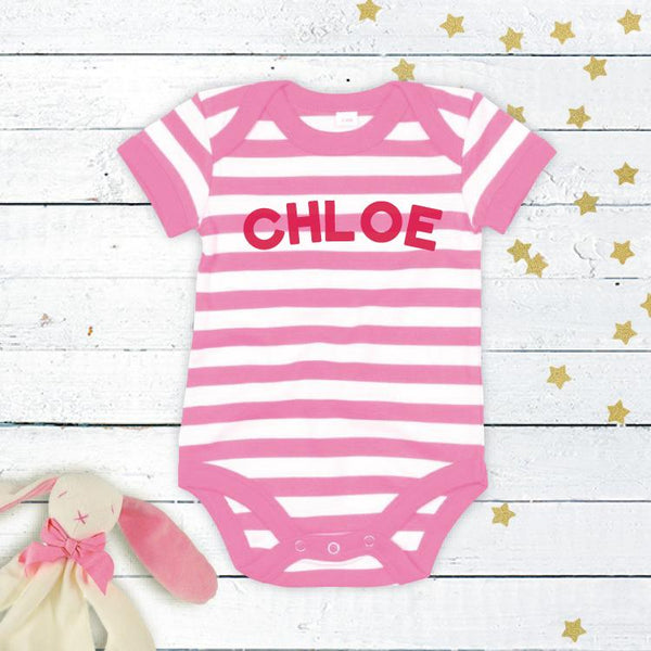 Stripy Personalised Bodysuit in Pink and White!