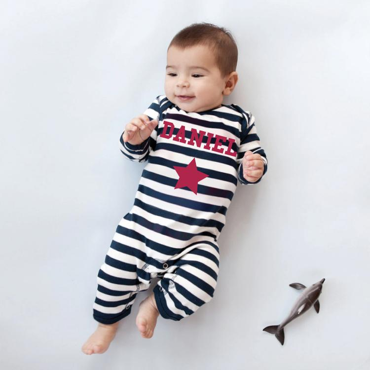 Single Star Navy Striped Romper Suit