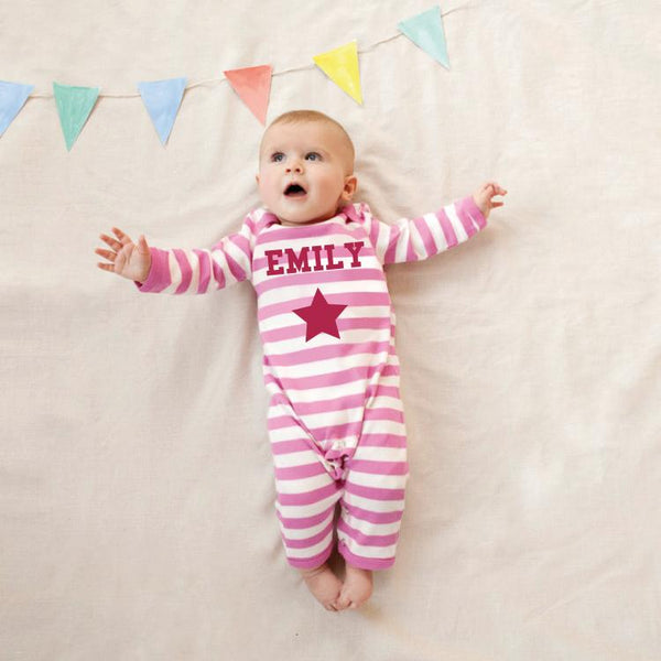 Single Star on Pink and White Striped Romper Suit