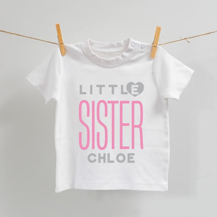 Personalised Little Sister White T-Shirt