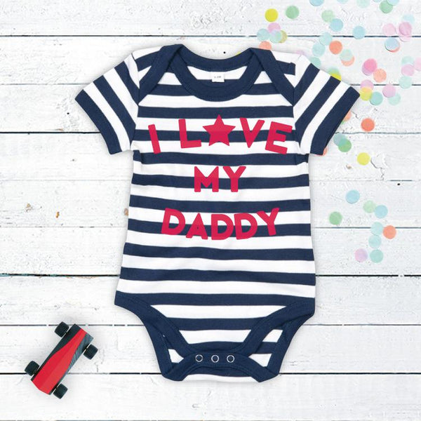 I Love Mummy or Daddy Bodysuit, in Navy and White