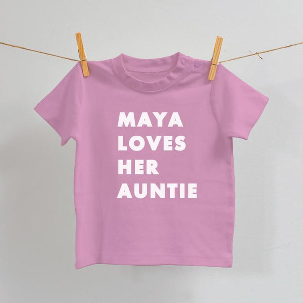 I Love My Auntie/Uncle/Grandma/Grandpa Baby T-Shirt in Pink