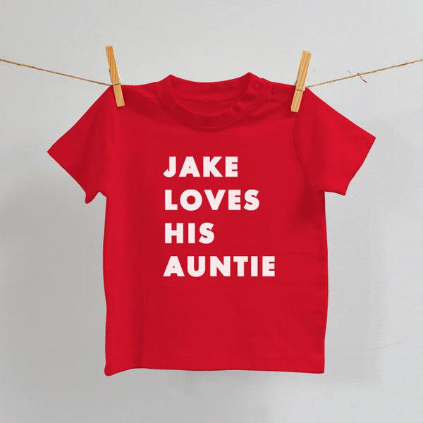 I Love My Auntie/Uncle/Grandma/Grandpa Baby T-Shirt in Red