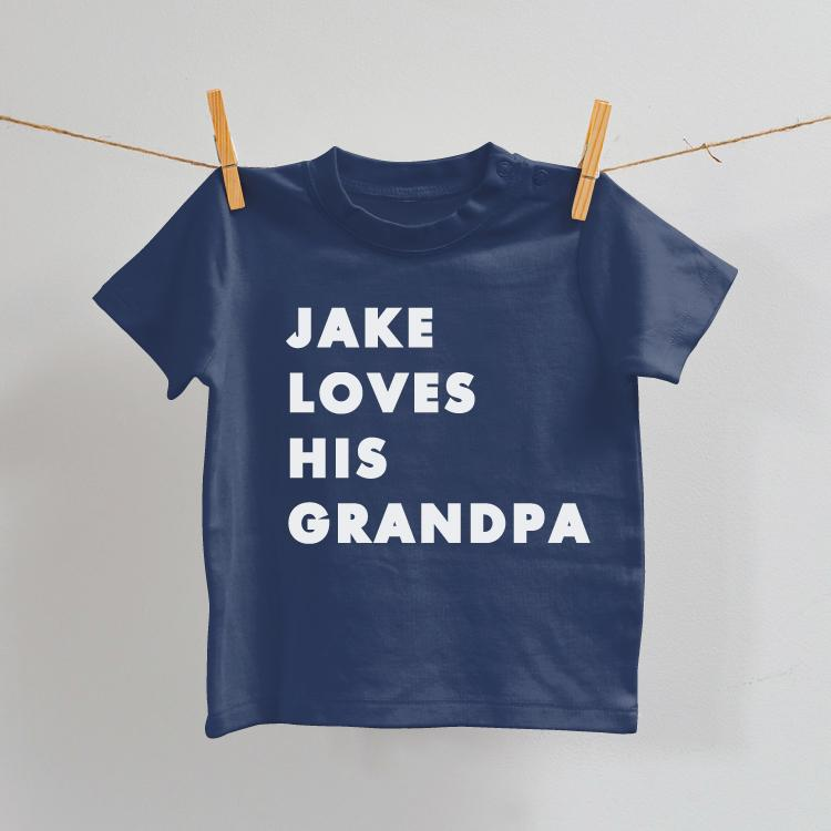 I Love My Auntie/Uncle/Grandma/Grandpa Baby T-Shirt in Navy