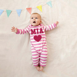 Personalised Single Heart Romper Suit in pink strips and red heart