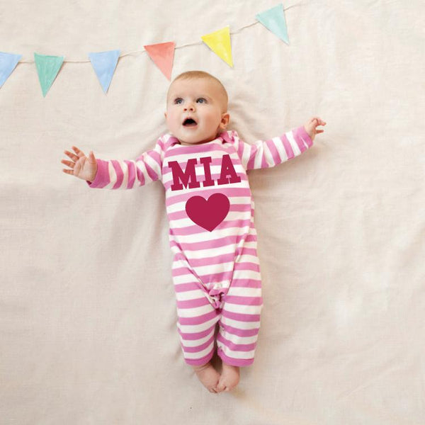 Personalised Single Heart Romper
