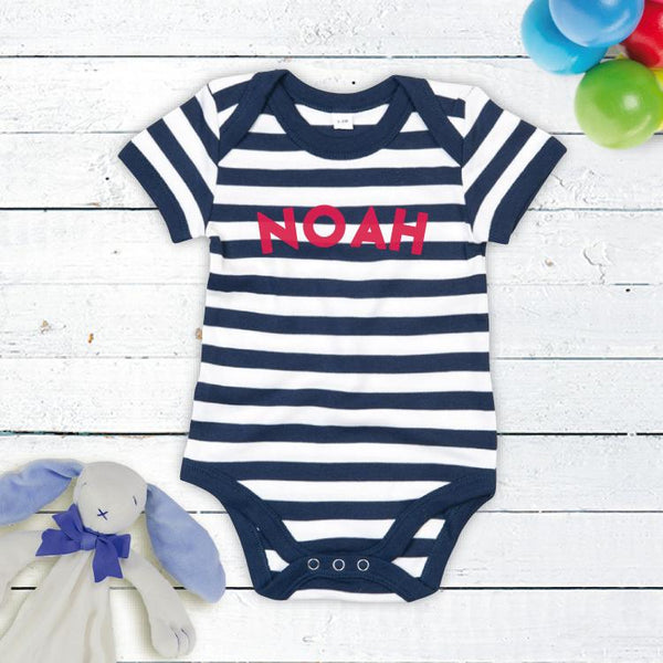 Stripy Personalised Bodysuit in Navy and White!
