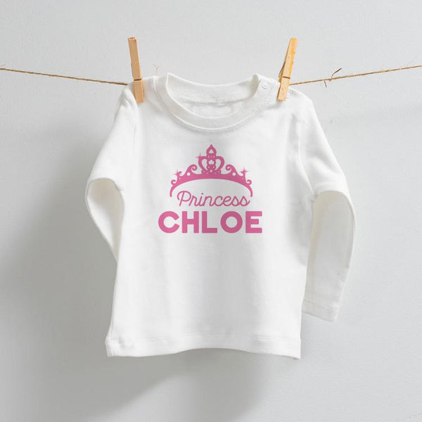 Personalised Princess Long Sleeved White T-Shirt with Pink Design