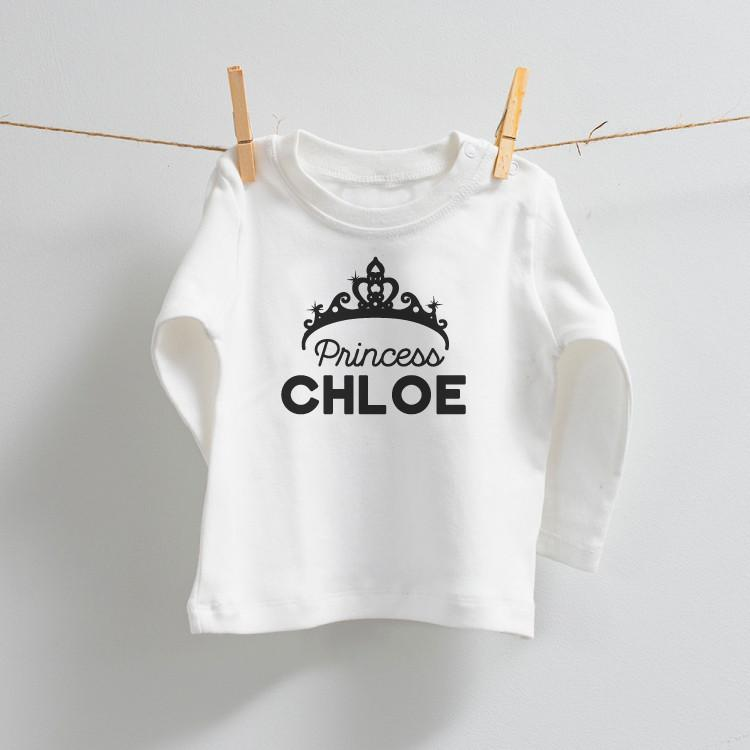 Personalised Princess Long Sleeve 100% Cotton Top