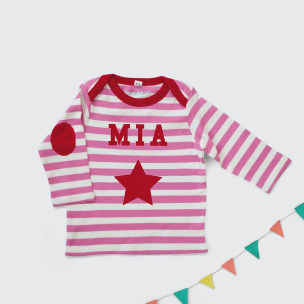 Personalised Long Sleeved Single Star Top in Pink and White