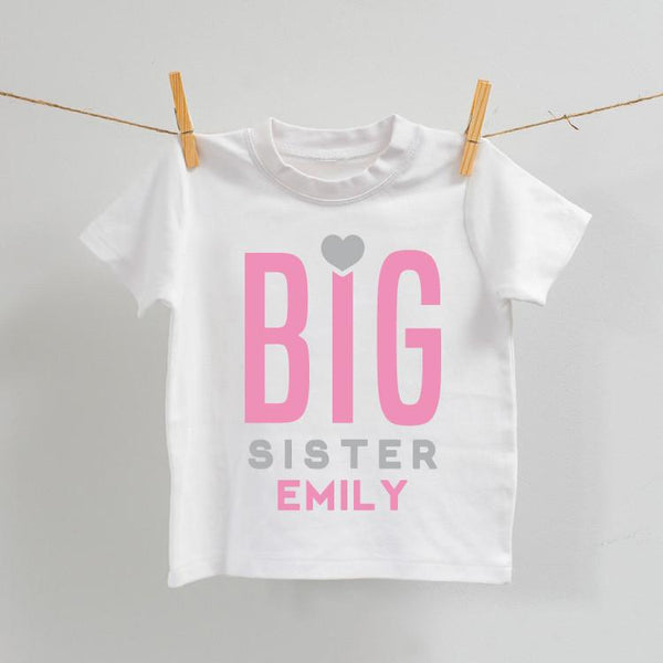 Personalised Big Sister White T-Shirt