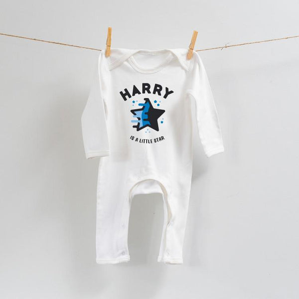 Personalised Little Star Romper Blue