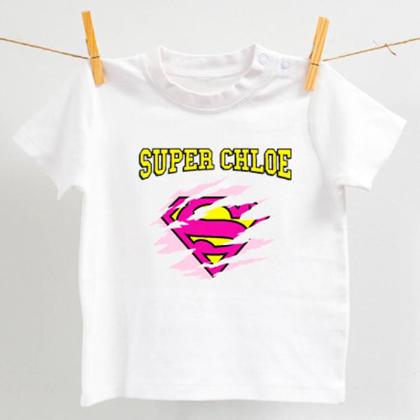 Personalised Super Hero Pink and Yellow Design on white romper