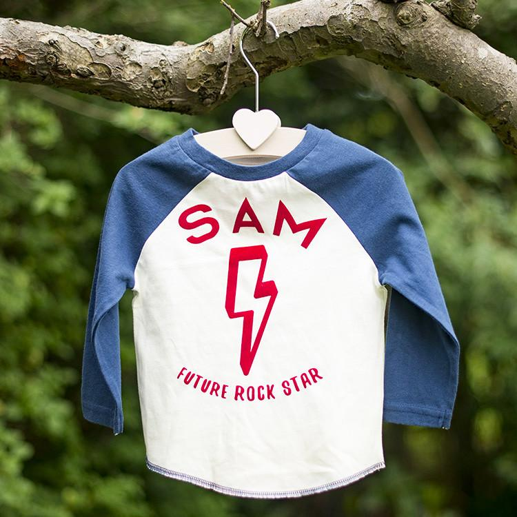 Personalised Future Rock Star Baseball Top Garden