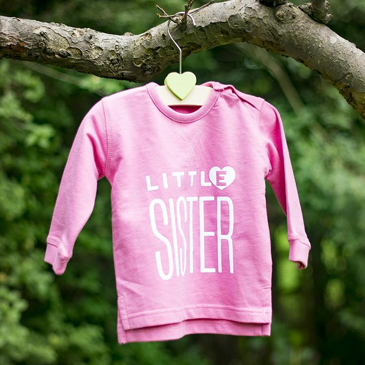 Little Sister Bright Pink Sweatshirt Garden Shot!