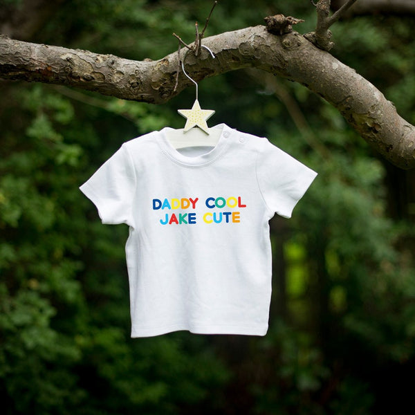 Personalised Daddy Cool Baby Cute White Cotton T-Shirt Multicoloured