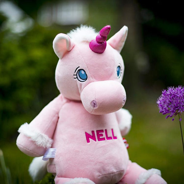 Personalised Pink Unicorn Soft Toy For Baby