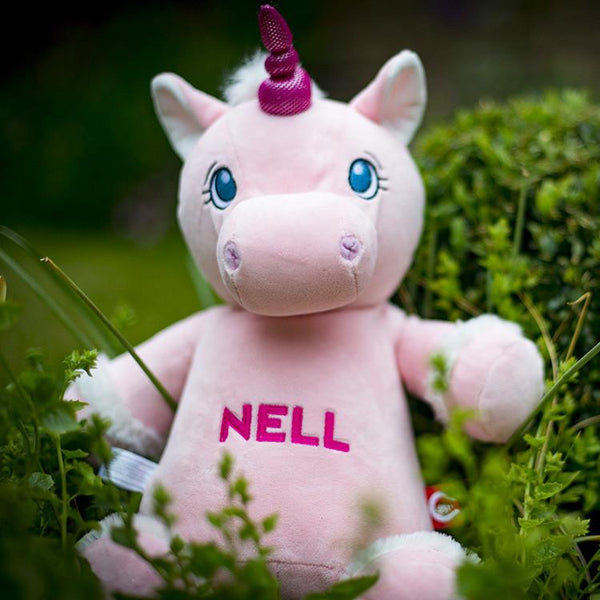 "Personalised Pink Unicorn Soft Toy For Baby ""Nell"""