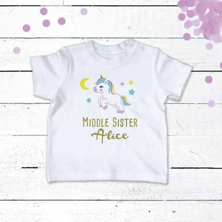 Personalised Unicorn T-Shirt For the Middle Sister