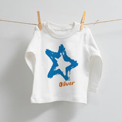 Personalised Star Design on Long Sleeve T-Shirt