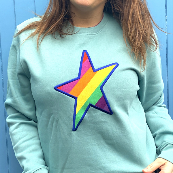 Embroidered Rainbow STAR Organic Sweatshirt in Teal
