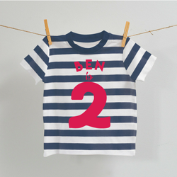 Personalised Navy and White Birthday T-Shirt, Age 1 & 2