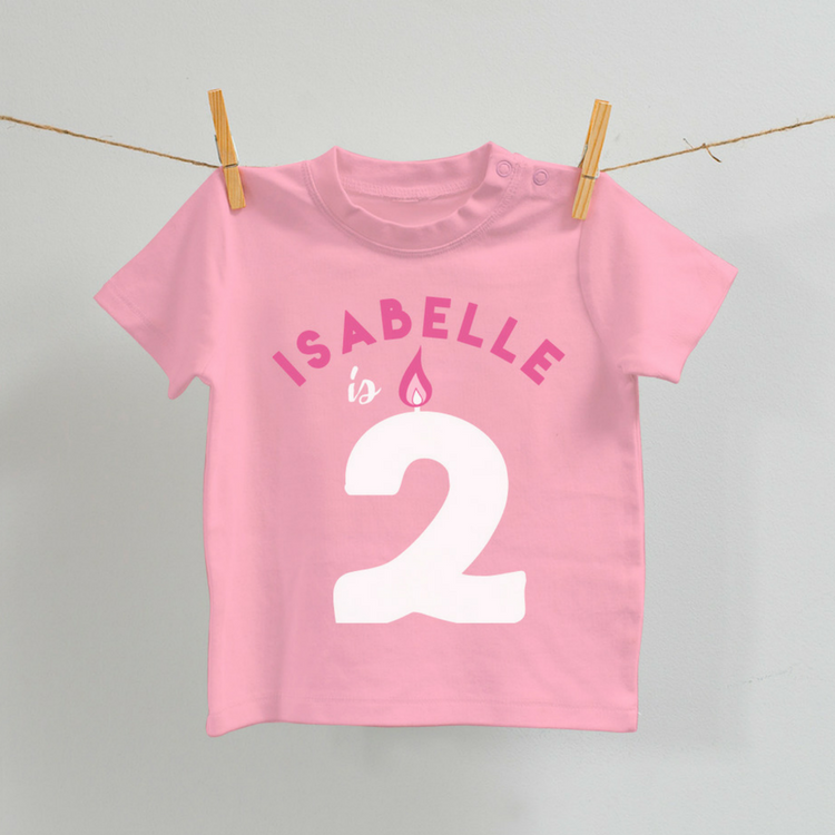 Personalised Birthday T-Shirt in Pink, Age 2-7