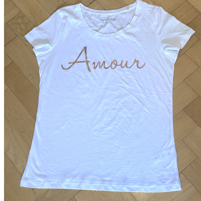 Amour Rose Gold Printed White Organic T-Shirt Size Large