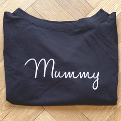 Black Slouch Sweatshirt with White Mummy - Small