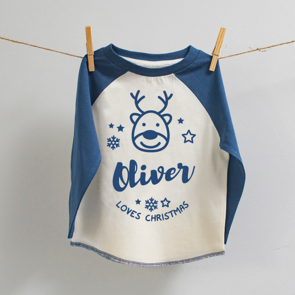 Personalised Christmas Baseball Top in Blue and White