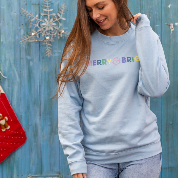 Merry and Bright Christmas Duck Egg Blue Sweatshirt