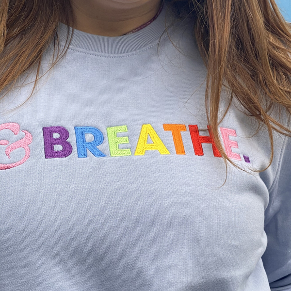 Embroidered &breathe Organic Sweatshirt in Soft Blue