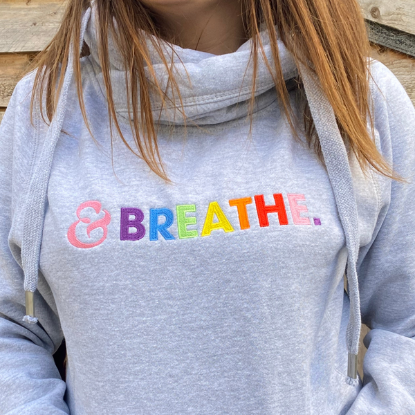 Embroidered Breathe Cowl Neck Hoodie in Grey
