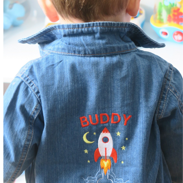 Personalised Organic Denim Jacket with Rocket
