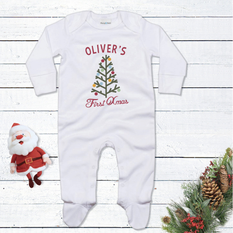 Personalised Christmas Tree First Christmas Romper