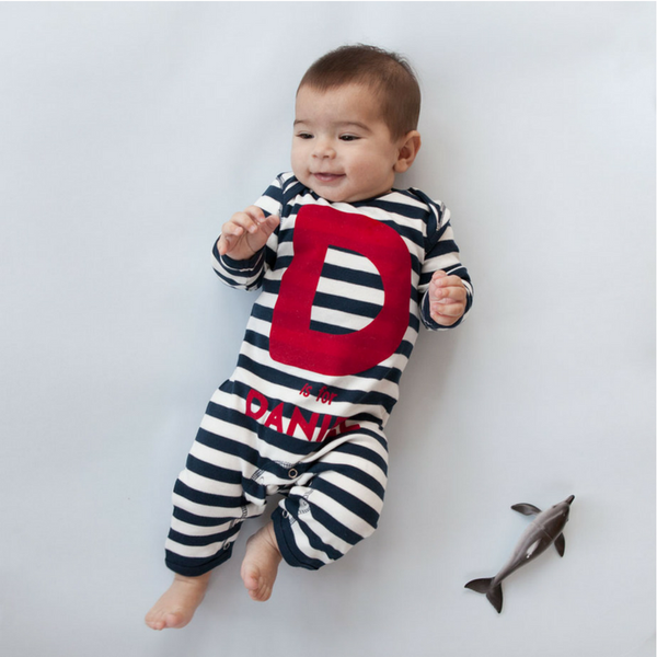"""A is For...."" Personalised Stripy Baby Romper in Navy & White Stripes"